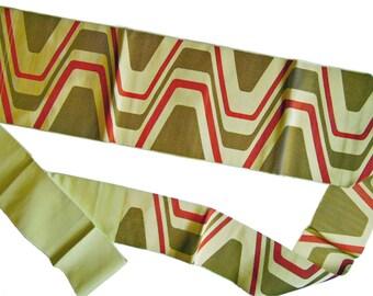 Japanese Obi (Sash) for Kimono. Vintage Obi. Geometric Pattern Obi. Green. Red. Beige. Vintage Kimono Accessory. Japanese Obi. Japan.