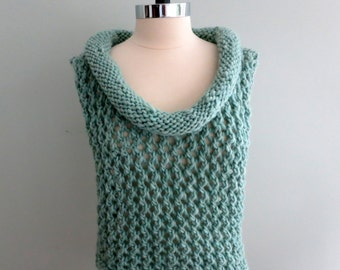 Lace Vest with Cowl Collar Knitting Pattern, PDF 245, Bulky Weight Yarn