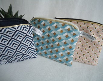Makeup Kit flat clutch in your choice on order, Gold piping, women and teens gift idea