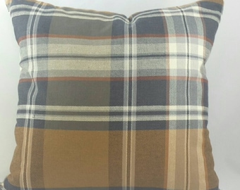 """1940s Inspired Plaid Cushion Cover in Greys, Cream Taupe and Caramel. Fits an 18""""x18"""" pillow insert"""