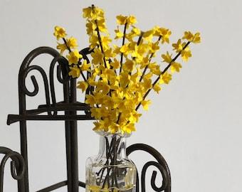 Dollhouse Miniature Forsythia in Vase Artist Made