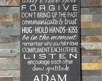 PERSONALIZED MARRIAGE RULES Sign/Wedding Gift/Personalized Gift/Engagement Gift/Bridal Shower Gift/Anniversary Gift