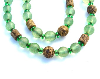 Romantic Antique Jewelry Chunky European Glass Bead French Art Deco Necklace Made in FRANCE Vintage 1930's Green Jewellery with Barrel Clasp