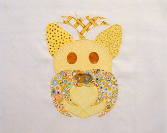 Yellow Yorkie Appliqued Quilt Block