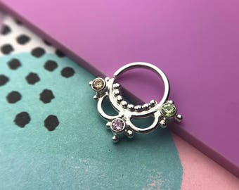 Goddess Septum Ring - Solid Sterling Silver with gemstone - Piercing Ring Daith Helix