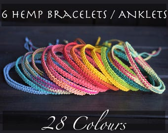 RESERVED - Mark -6 Hemp Bracelets. Anklet.Custom Colours. Hippie. Boho Jewelry. Natural Jewelry. Eco-Friendly. For Him. For Her.