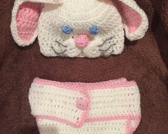 Bunny costume    Diaper cover and hat.