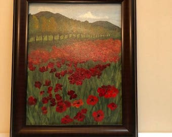 Field of Poppies 17 x 14 Framed oil painting