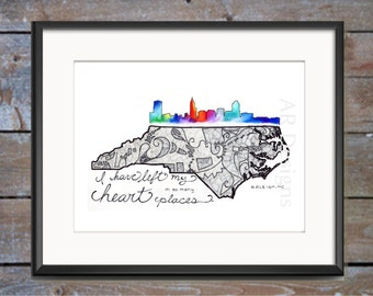Our State, North Carolina, Raleigh, skyline, hand lettered, typography, pen and ink, wall art decor, custom
