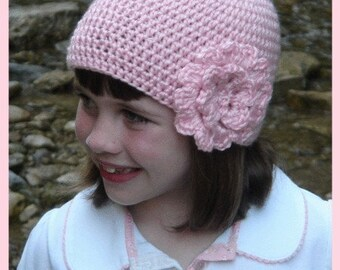 Crochet Pattern for Hat with Big Flower, PDF Instructions for Baby, Child and Adult Sizes, Skill Level is Easy