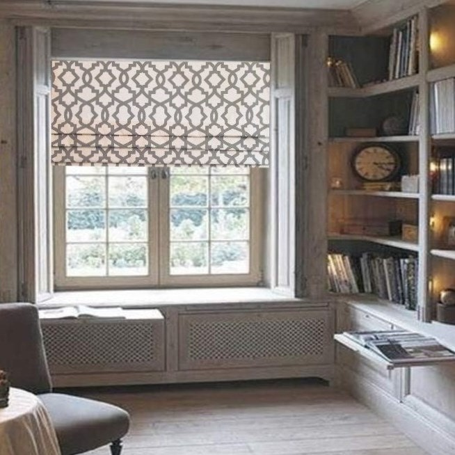 Fantastic Lined Faux Roman Shade Grey/ Natural Geometric Trellis Mock TK99