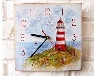 Red Lighthouse Wall Clock OOAK Home Decor for Children Baby Kid Boy Girl Nursery Playroom