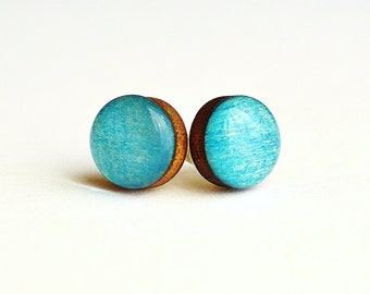 boho wood earrings , small earring posts , tiny stud earrings ,