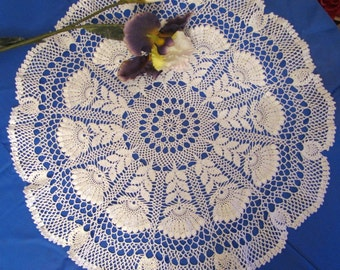 Large Lace Doily White Doilies Hand Crocheted Items Elegant Crochet Doily Vintage White Doily Crochet Centerpiece Christmas Gift for Grandma