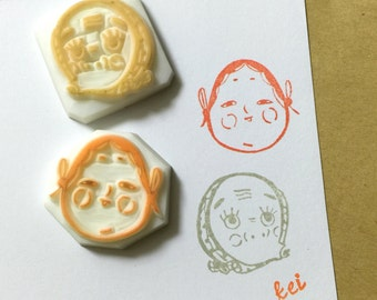 OKAMEおかめ HYOTTOKOひょっとこ - Hand Carved Rubber Stamps/Celebration/Holidays