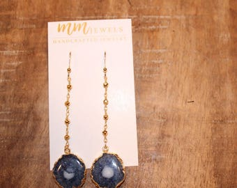 Black Quartz Pendant on Gold Rosary Chain Earrings