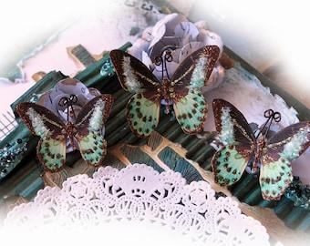 Reneabouquets Butterfly Set -Tiffany Glass Glitter Butterflies Scrapbook Embellishment, Wedding Decoration, Home Decor