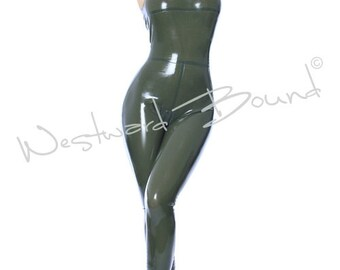 Sleeveless Rubber Latex Catsuit with Zip back Made+Designed In UK R669