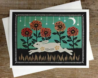 Springing Through The Field - Greeting Card