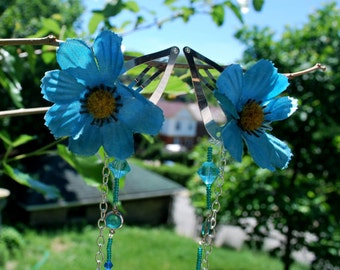 Pair Blue Flower Clip with Silver and Beading Dangles