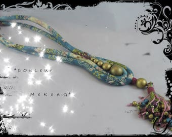COLOR MEKONG - fabric necklace with predominantly dark blue, Khaki green, mauve, purple and gold and wood beads