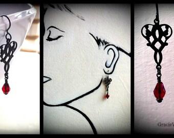 How Do I Love Thee, Black Victorian Gothic Earrings Black Bridal Jewelry Victorian Wedding Black Goth Garnet Earrings, Iron Throne Earrings