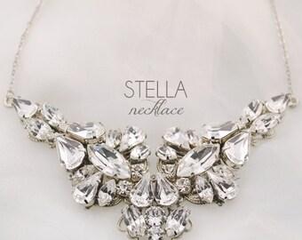 Statement rhinestone necklace - wedding jewelry necklace - Swarovski clear crystal necklace - bridal necklace - Stella necklace