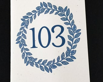 Masculine 103rd Birthday Card, Laurel Wreath Birthday Card, Blue, Birthday Card for Dad, Card for brother, Card for Grandfather