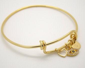 Gold evil eye and initial adjustable bangle•evil eye bangle bracelet•initial bangle •bridesmaid gift•lucky eye bangle •Greek Jewelry