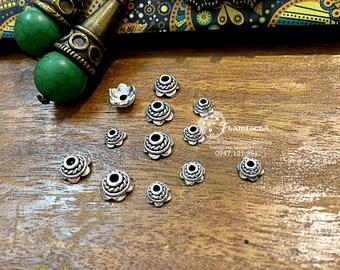 Silver charm s925 thai silver diy torus S925 silver crafted flower torus bead caps 3270003 / 3270002