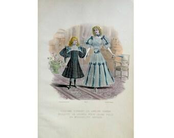 ANTIQUE FRENCH FASHION lithograph - original antique print - fashion illustration design fashion designer - dresses for children