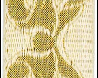 Vintage Tapestry Bow Jacquard Ribbon Trim Reversible Metallic Gold White Wide Woven Trim 3 Yards