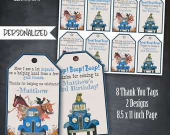 Little Blue Truck Thank You Tags, Little Blue Truck Favors, Little Blue Truck Tags, Birthday Party, Personalized, Printables