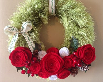 Christmas felt wreath .. The must have item in a classic Christmas colours