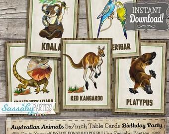 "Australian Animals 5x7"" Table Cards - INSTANT DOWNLOAD - Printable Birthday, Aussie Party Decoration, Kangaroo, Koala, Poster, Sign Decor"