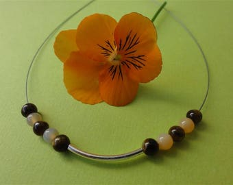 Hoela - Tiger eye, Carnelian and Sterling Silver 925 necklace
