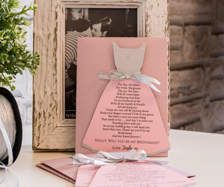 Will you be my Bridesmaid Pink and Silver Bridesmaid