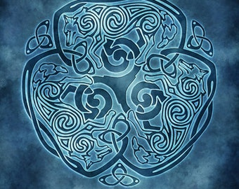 Winter Wolf Celtic Wolf Triskele Knotwork -  Pagan Wiccan Print - Brigid Ashwood