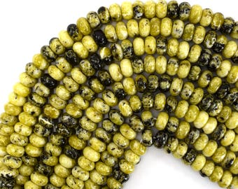 """10mm yellow turquoise rondelle beads 15.5"""" strand 39376"""