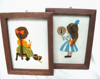 Vintage Charming Girl Embroidery Pictures 3-D Hair 70s