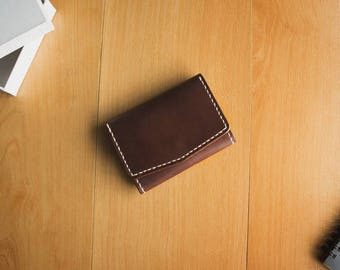 VERTO dark wine pull up cowhide leather card case compact wallet patina man fashion