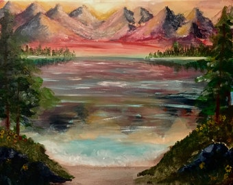 Mountain Range Lake Painting