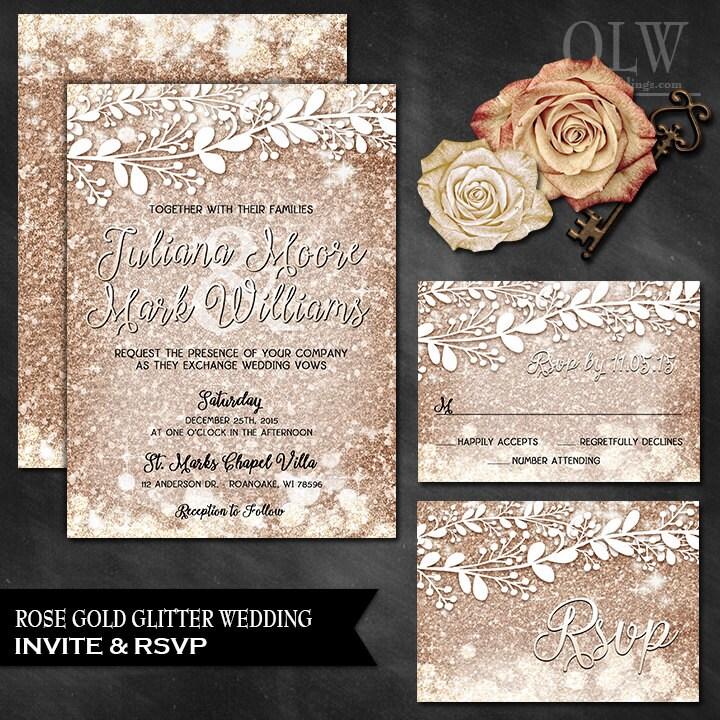 Rose gold wedding invite and rsvp card rose gold wedding set zoom filmwisefo