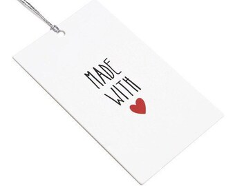 Made with Love Gift Tags  - set of 10 - 4.5 x 7.5cm