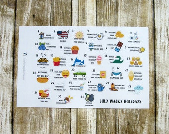 July Wacky Holidays, July Silly Holidays, monthly planner stickers, holiday stickers, Functional planner stickers