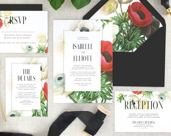 Vintage Wedding Invitations - Fall Wedding Invites - Winter Wedding Invitation Set - Floral Wedding - Garden Wedding Invite - Set of 10