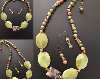 Jade necklace Nephrite necklace Unakite Necklace Unakite Earrings Chunky Necklace Gemstone Necklace Gemstone Earrings Green Necklace Healing