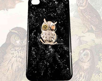Robot Owl Iphone Case Inlaid in Hand Painted Glossy Black Enamel with Silver Splash Design Owl with Gear and Cog Eyes w Color Options
