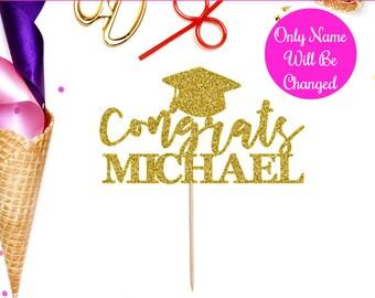 Personalized Congrats Cake Topper, Graduation, Cake Topper, Graduation Decor, Class of 2018, Graduation Party, College Graduation, Congrats