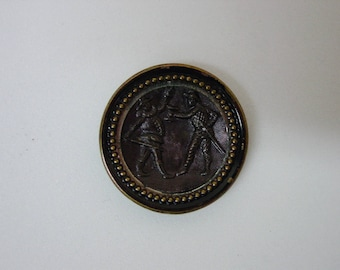 """Antique Picture Button, Theater and Opera, Punchinello & Harlequin 1 1/16"""" Stamped Brass"""